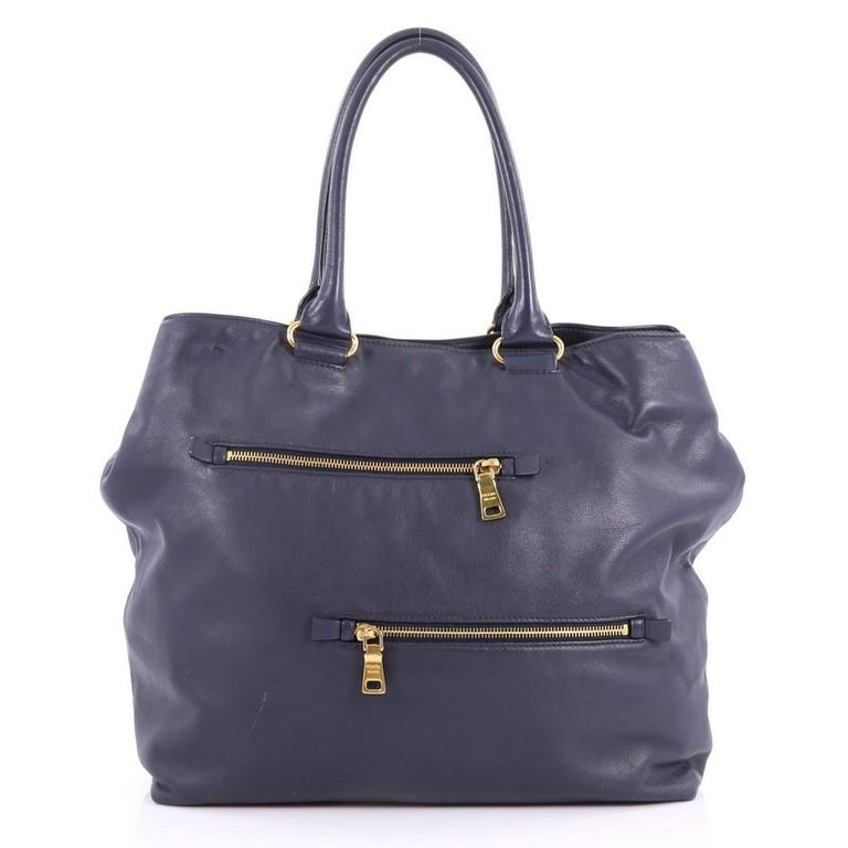 Prada Convertible Zipper Detail Tote Soft Calfskin Large In Good Condition For Sale In New York, NY