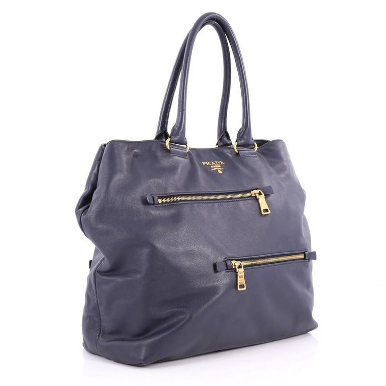 Gray Prada Convertible Zipper Detail Tote Soft Calfskin Large For Sale