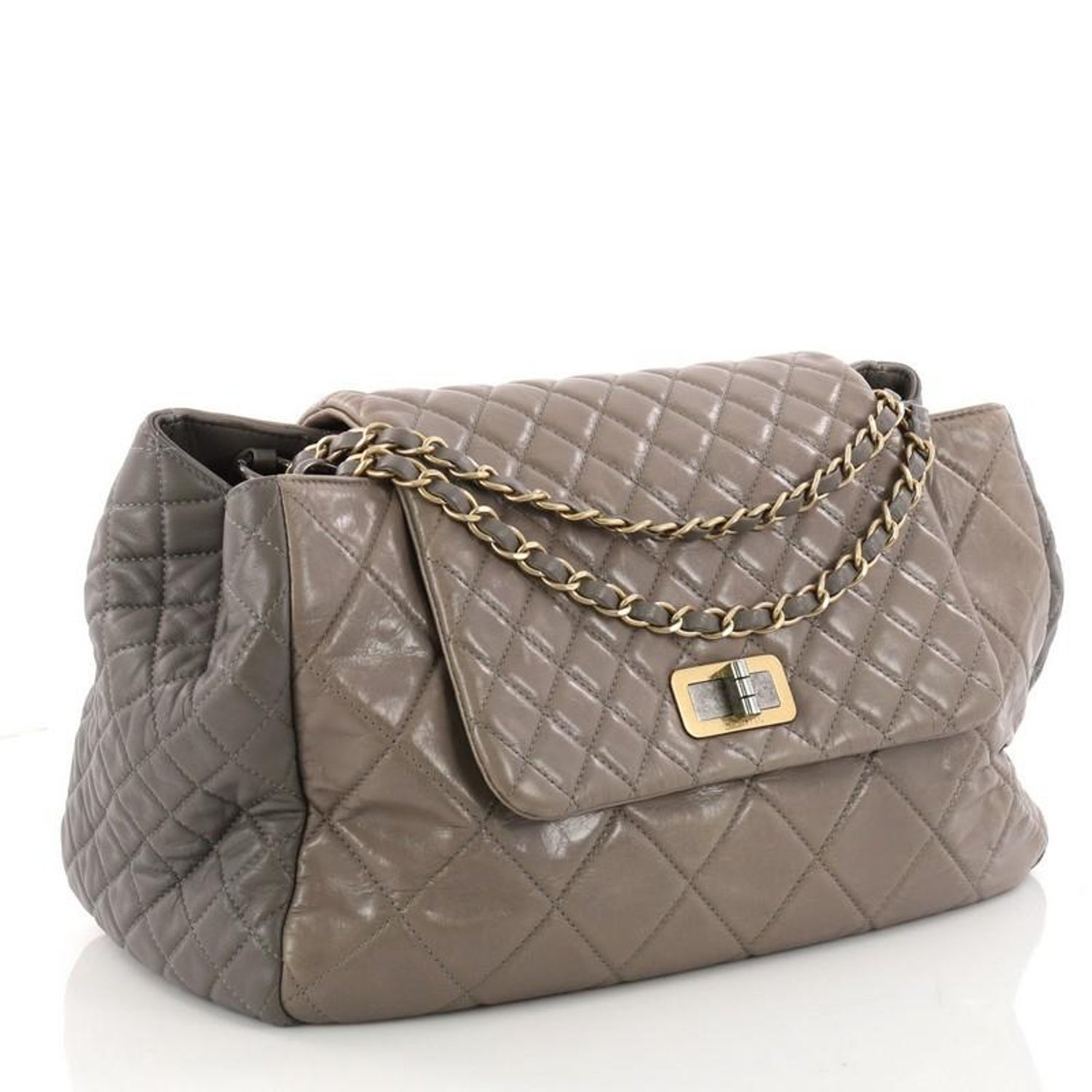 539267bccd98 Chanel East West Mademoiselle Lock Tote Quilted Glazed Calfskin Large at  1stdibs