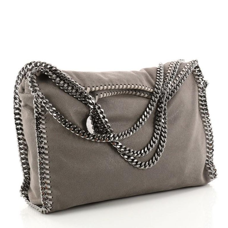 Gray Stella Mccartney Falabella Fold Over Bag Gy Deer For