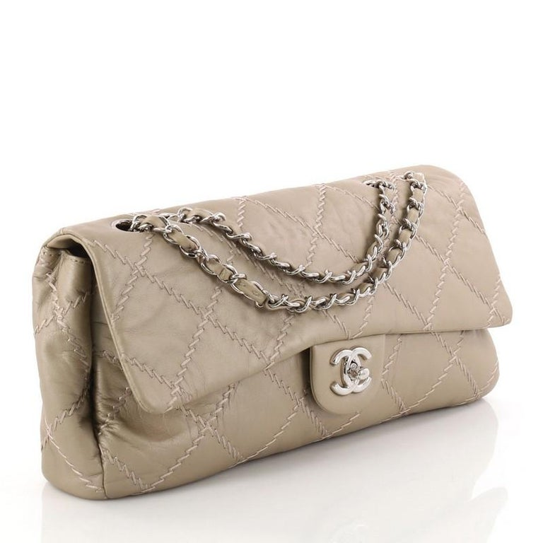 c50536cee3d6 Brown Chanel Ultimate Stitch Flap Bag Quilted Lambskin East West For Sale