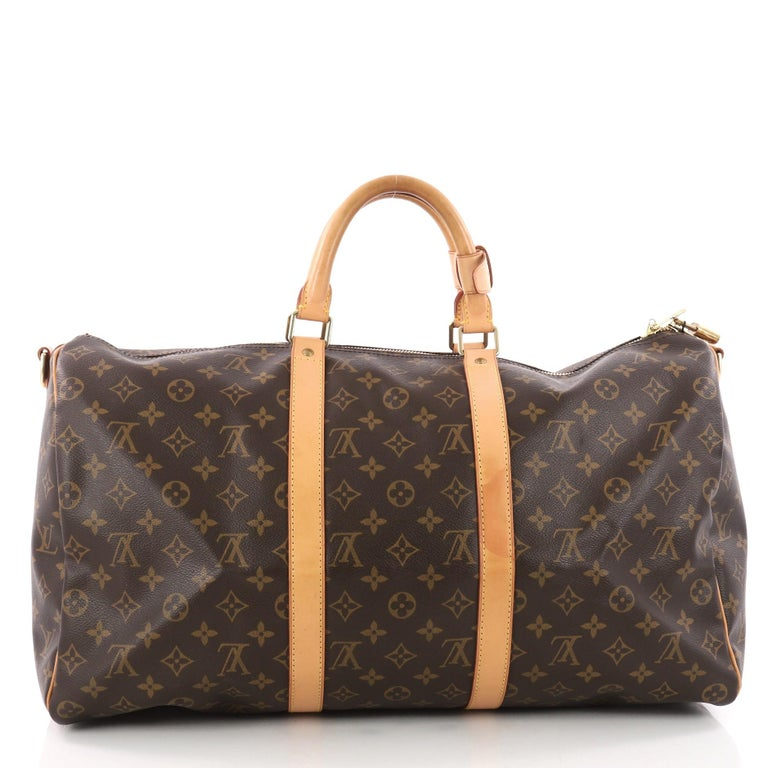 1ffa71d6154e Louis Vuitton Keepall Bandouliere Bag Monogram Canvas 50 In Good Condition  For Sale In New York