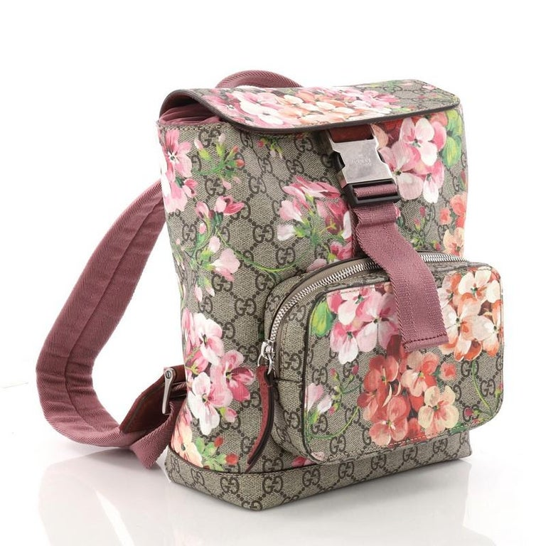 aaf2487c728 Brown Gucci Buckle Backpack Blooms Print GG Coated Canvas Small For Sale