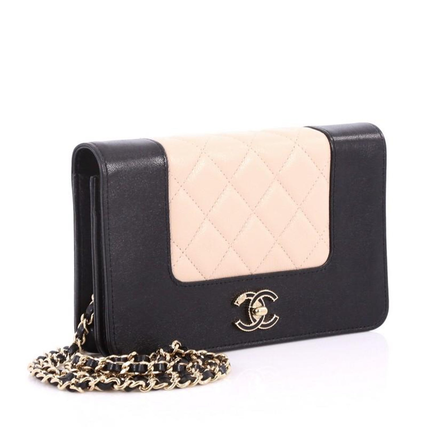 08fd25a7aedd Chanel Mademoiselle Vintage Wallet On Chain Quilted Sheepskin at 1stdibs