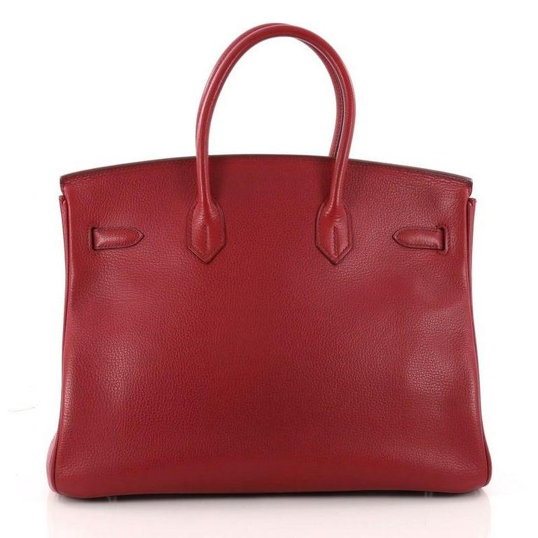 347f7aa38852 Women s or Men s Hermes Birkin Handbag Rouge Red Buffalo Skipper with  Palladium Hardware 35 For Sale