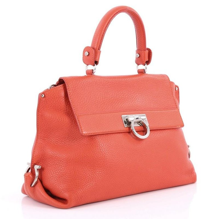 72c6d50c36 Orange Salvatore Ferragamo Sofia Satchel Pebbled Leather Medium For Sale