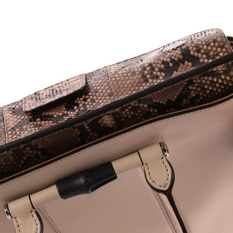 06ad2cff2e9b Gucci Lady Bamboo Top Handle Bag Leather and Python For Sale 2