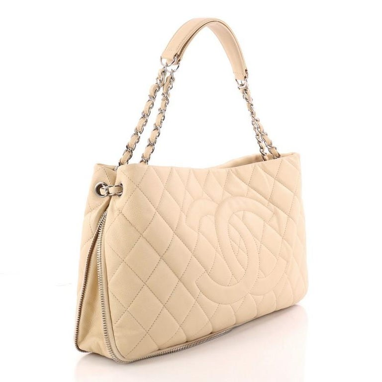 5033aeeb697a Beige Chanel Timeless CC Expandable Tote Quilted Caviar Medium For Sale