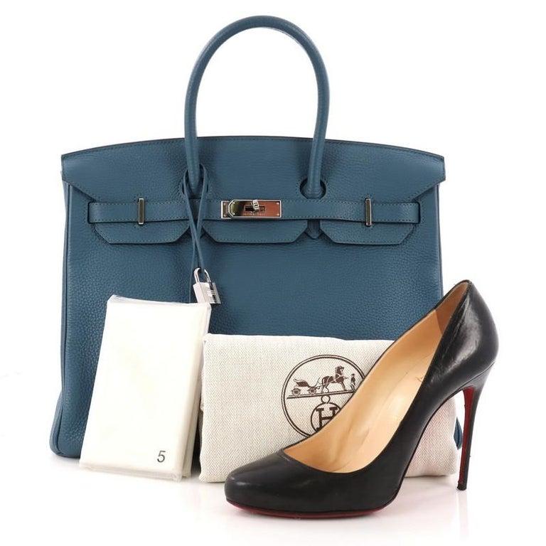 a67be21b9c7f This authentic Hermes Birkin Handbag Bleu Thalassa Togo with Palladium  Hardware 35 stands as one of