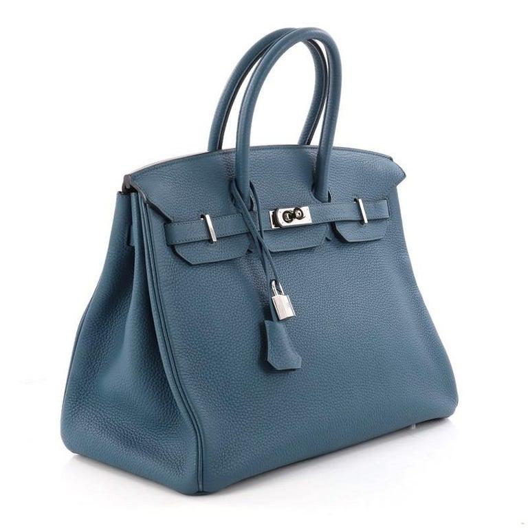 cfdd5f884585 Blue Hermes Birkin Handbag Bleu Thalassa Togo with Palladium Hardware 35  For Sale