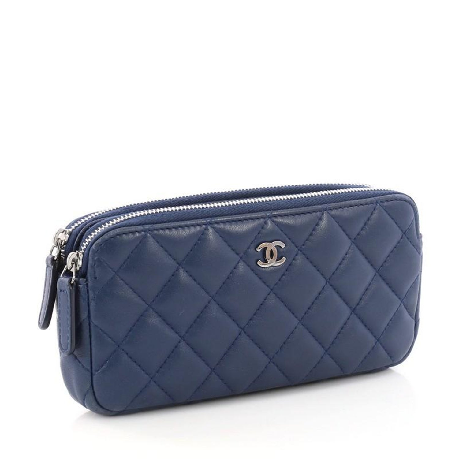 9dde50d8f52d Chanel Double Zip Clutch with Chain Quilted Lambskin at 1stdibs