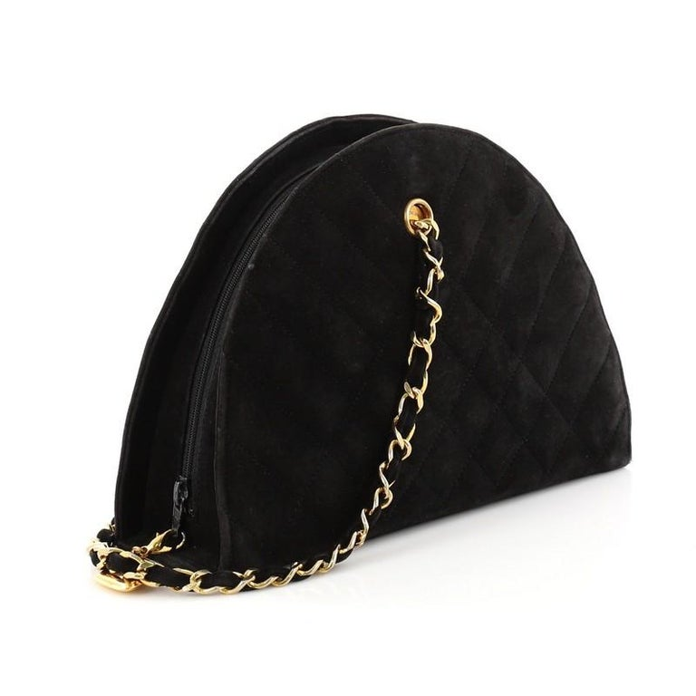 Chanel Vintage Quilted Suede Small Dome Chain Bag For Sale At 1stdibs