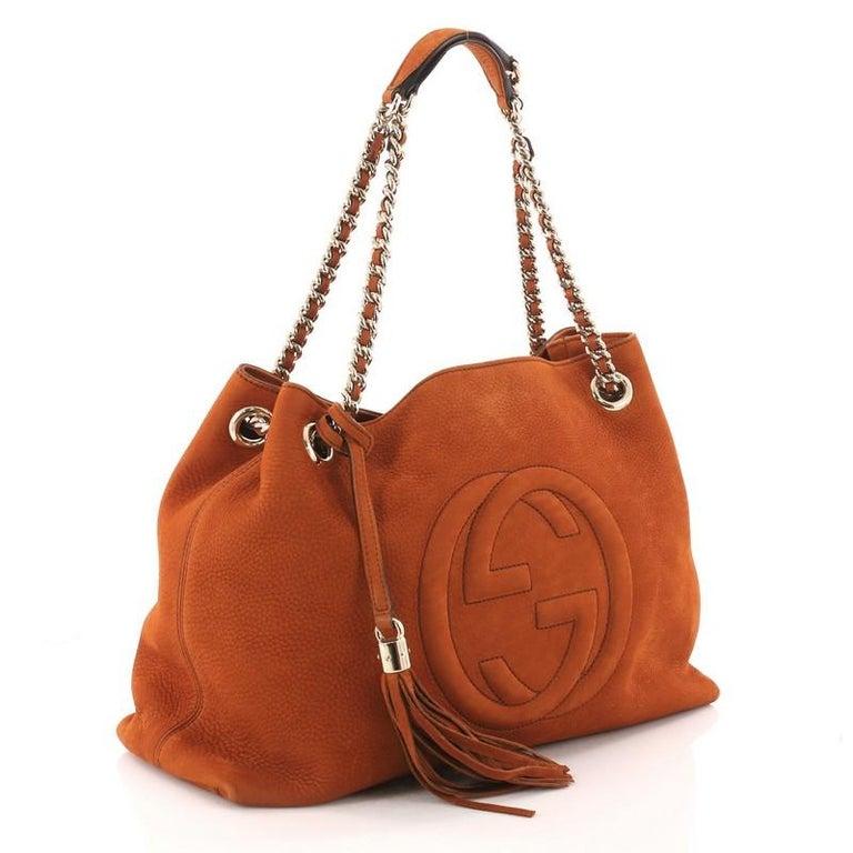 e59718acee6e Gucci Soho Chain Strap Shoulder Bag Nubuck Medium In Good Condition For  Sale In New York