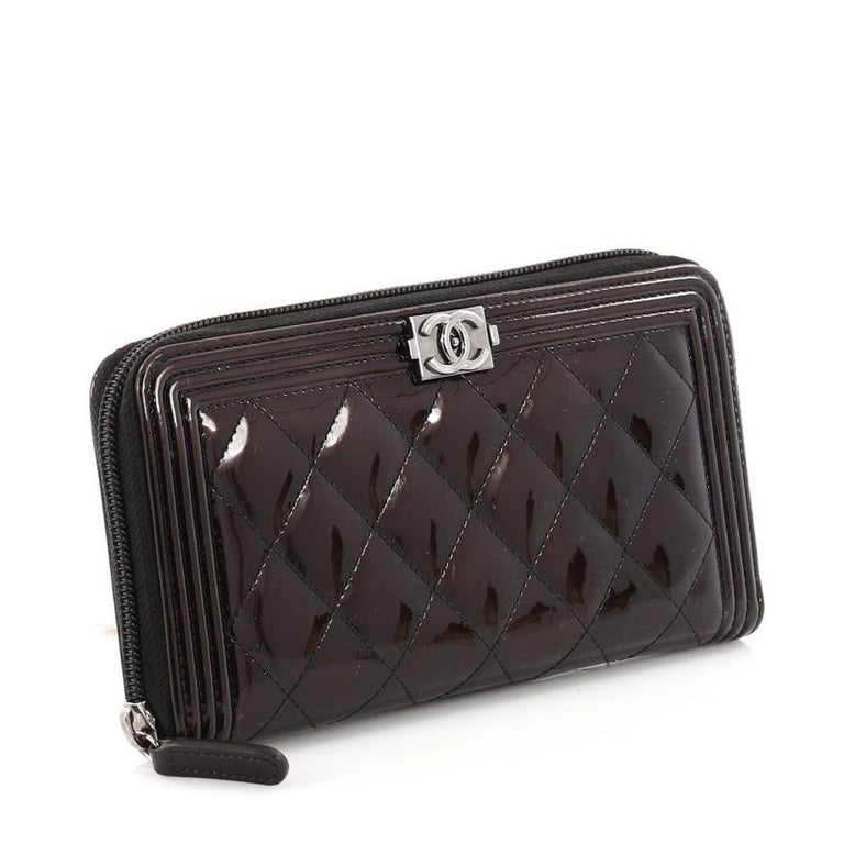 8d9c8edd62b4 Black Chanel Boy L-Gusset Zip Wallet Quilted Patent Long For Sale