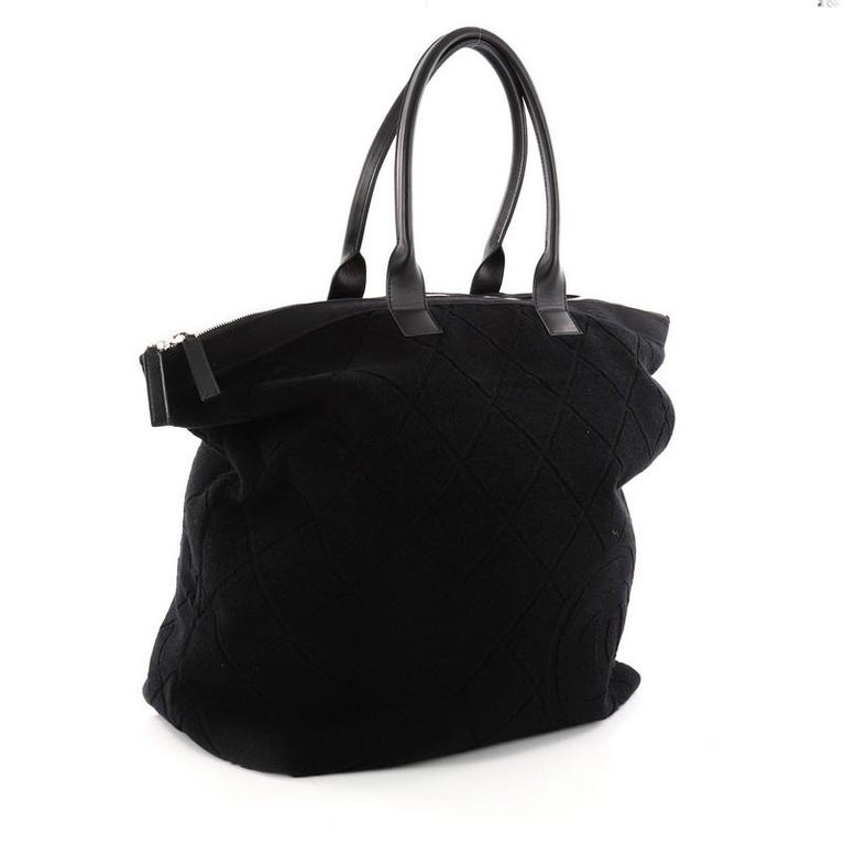 268fce60b63a Black Chanel CC Beach Tote Terry Cloth Large For Sale