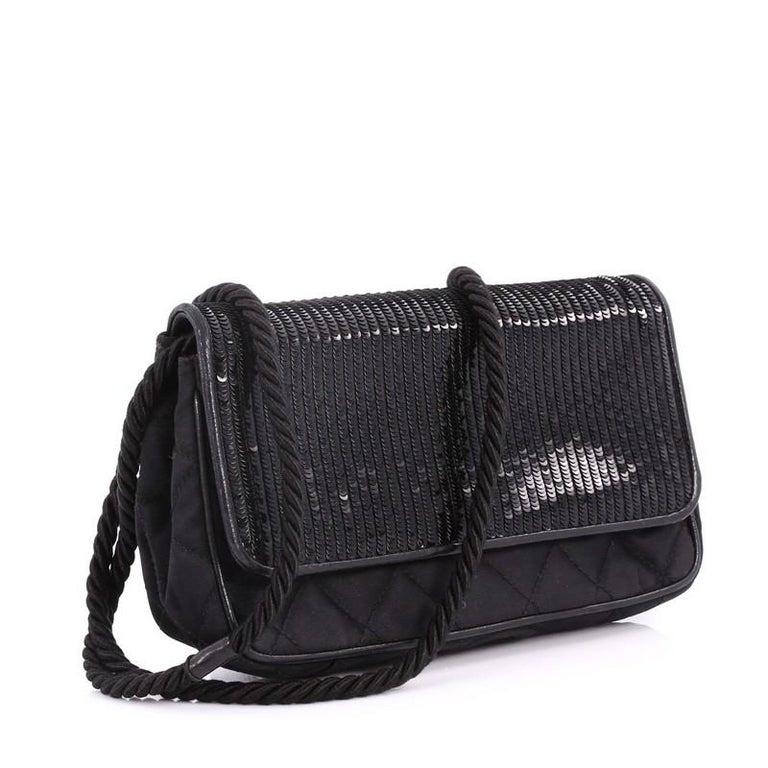 3dd2b96ab1 Black Chanel Vintage Flap Shoulder Bag Sequin Embellished Satin Small For  Sale