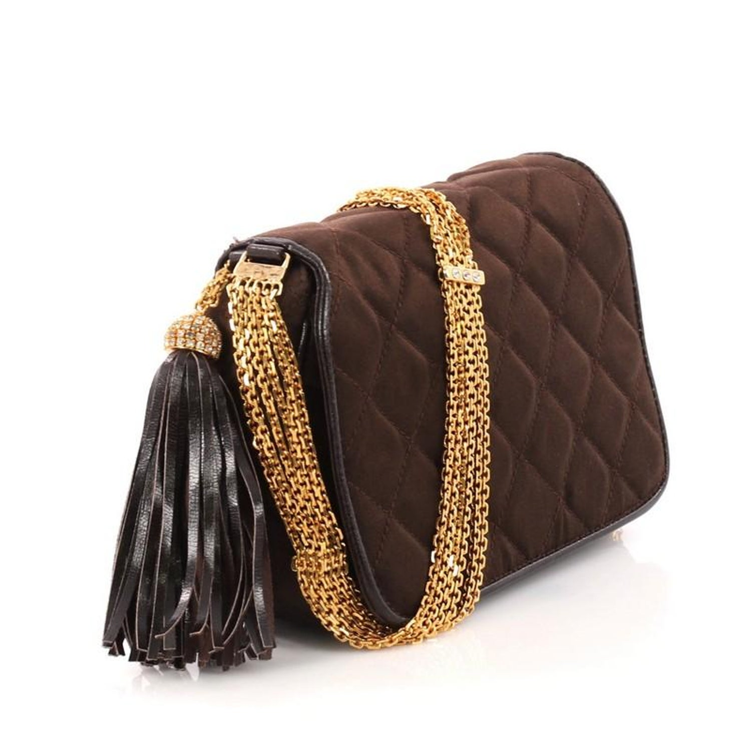 111729fe8462 Chanel Vintage Tassel Flap Bag Quilted Satin Small at 1stdibs