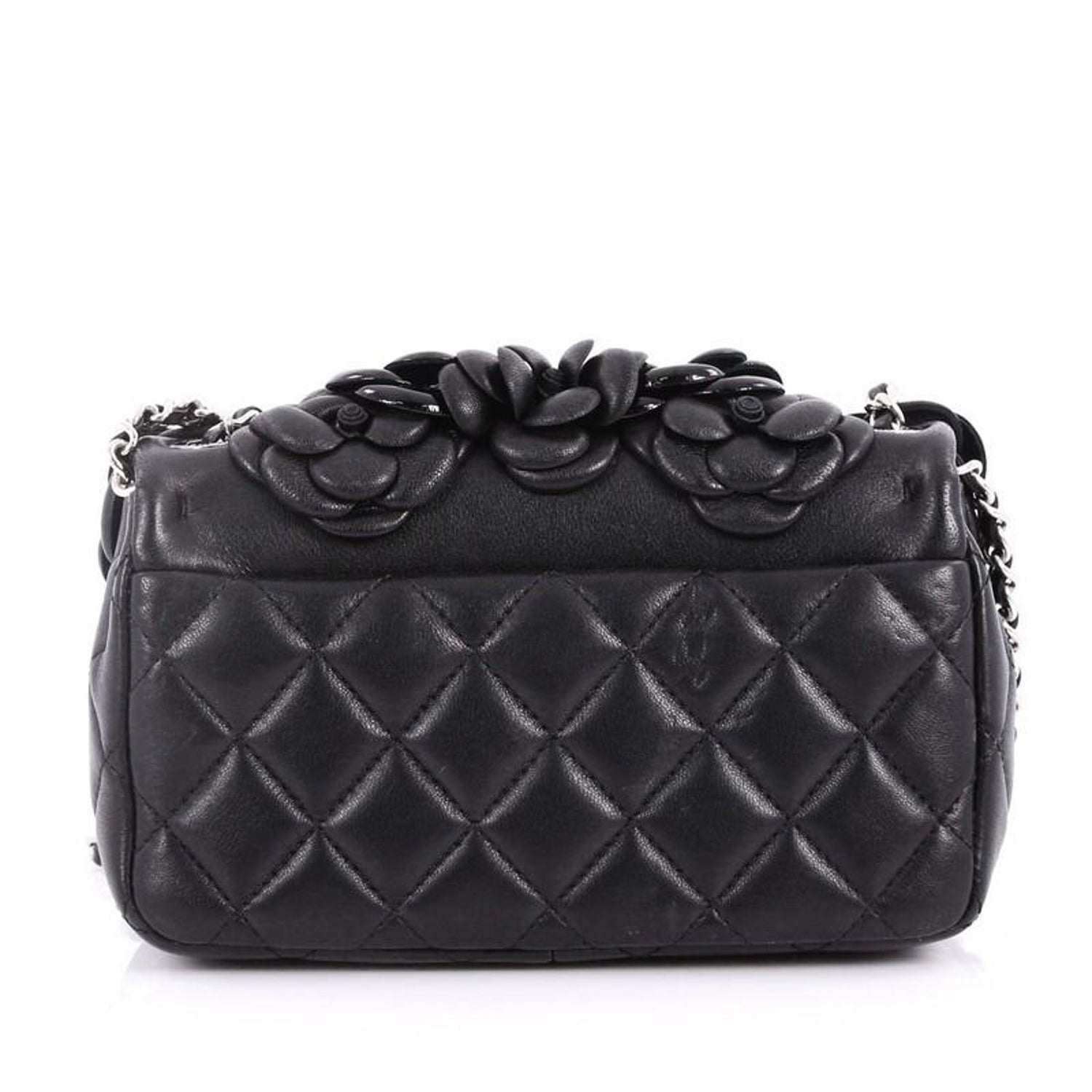 4baba1f4010f Chanel CC Camellia Flap Bag Patent and Leather Embellished Lambskin Mini at  1stdibs