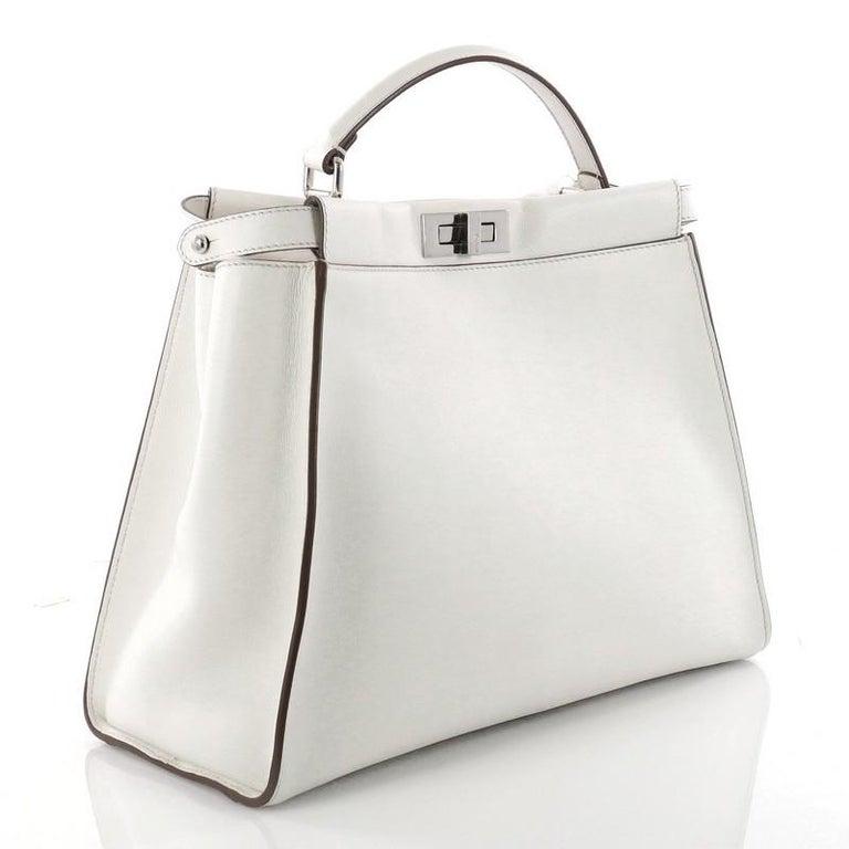 a28e950d8a18 Gray Fendi Peekaboo Monster Handbag Leather with Fur Interior Large For Sale