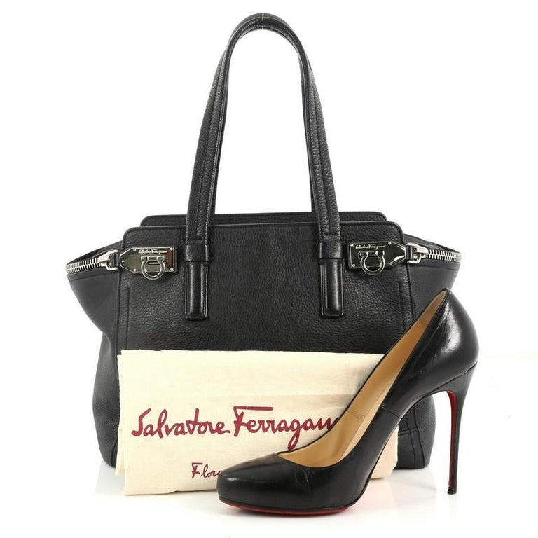 This authentic Salvatore Ferragamo Verve Tote Leather Medium is a casual  yet chic tote perfect for a95d2bd89f