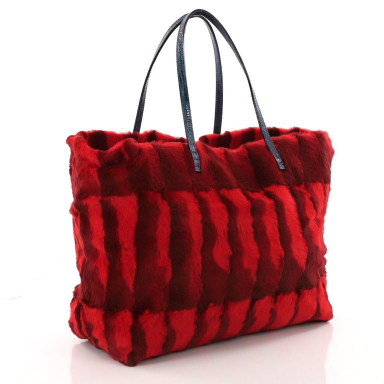 Red Fendi Roll Tote Fur with Lizard Medium For Sale
