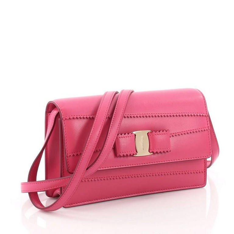 5c7c525b41 Pink Salvatore Ferragamo Ginny Crossbody Bag Stitched Leather Mini For Sale