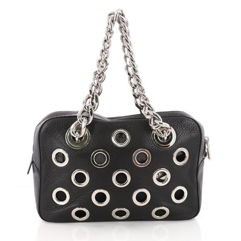 7e7c6d02e30d Prada Grommet Chain Shoulder Bag Vitello Daino Medium at 1stdibs