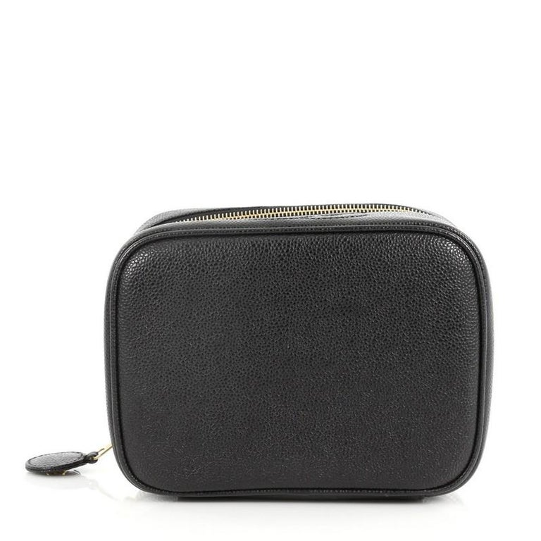5c690ab559df43 Women's or Men's Chanel Vintage CC Cosmetic Case Caviar For Sale