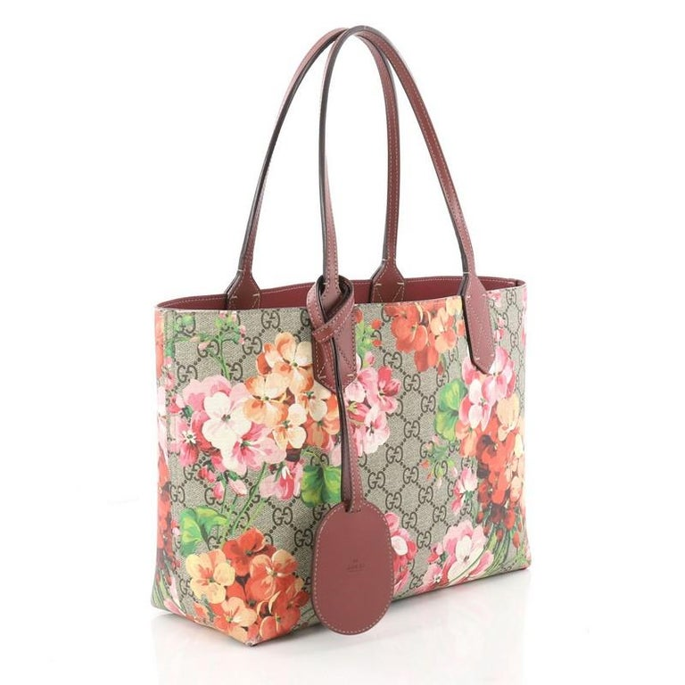 774d56711ce Brown Gucci Reversible Tote Blooms GG Print Leather Small For Sale