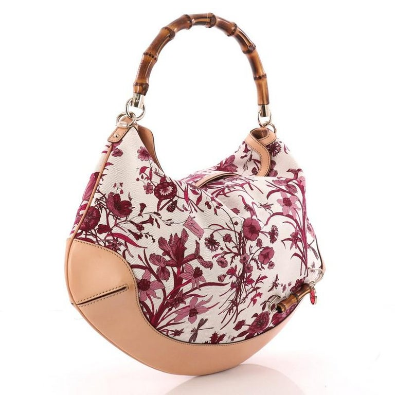 8ce2d4c8961 Beige Gucci Peggy Bamboo Handle Hobo Flora Canvas For Sale