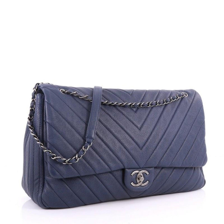 5cbf4ccfd45a Chanel Airlines CC Flap Bag Chevron Calfskin XXL at 1stdibs