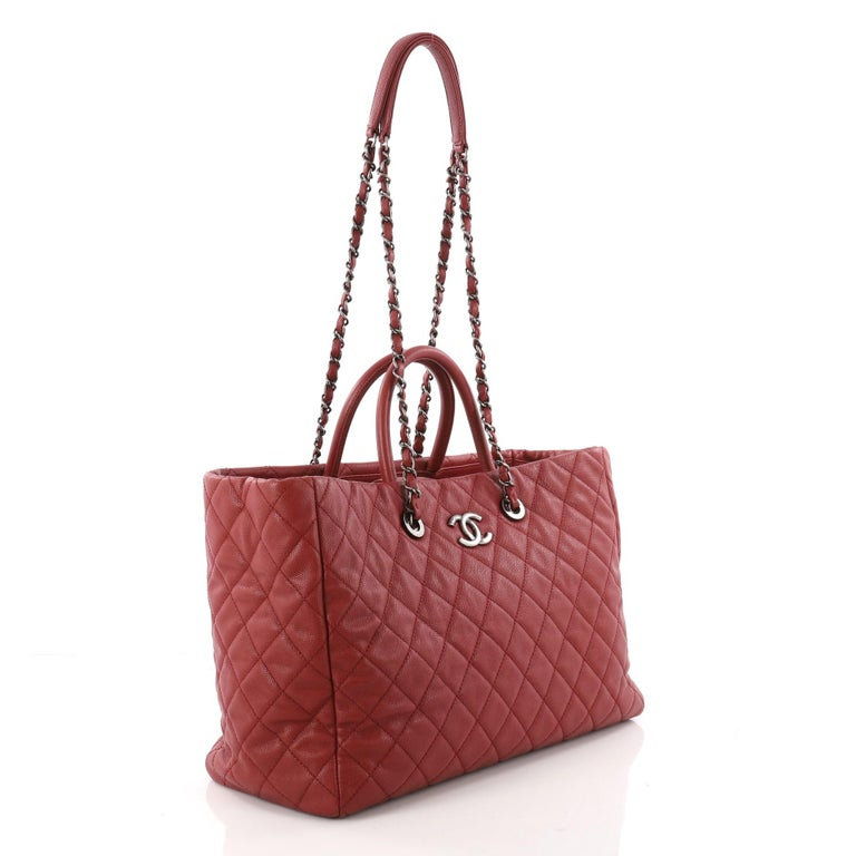 1b4d61d2c9d8 Brown Chanel Coco Handle Shopping Tote Quilted Caviar Large For Sale