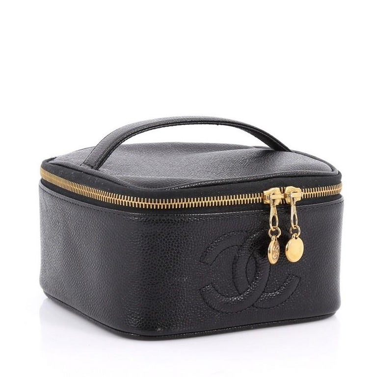 4571964d910b0b Black Chanel Vintage CC Cosmetic Case Caviar For Sale