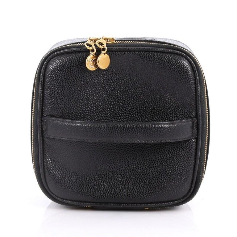b812146985b47f Chanel Vintage CC Cosmetic Case Caviar For Sale 1