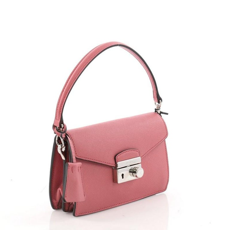 2eeb3c409 Pink Prada Convertible Sound Bag Saffiano Leather Mini For Sale