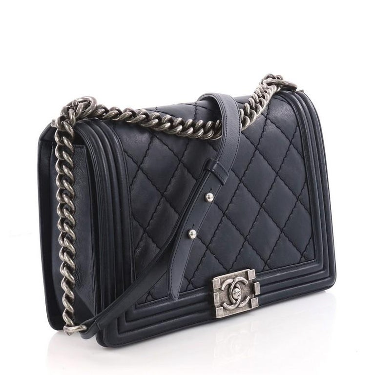 7a3ac5e24afb63 Black Chanel Double Stitch Boy Flap Bag Quilted Calfskin New Medium For Sale