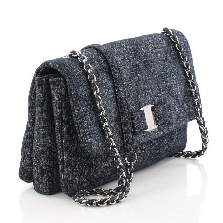 Black Salvatore Ferragamo Gelly Handbag Quilted Denim Medium For