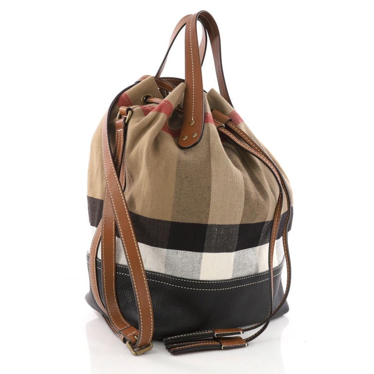 eea08e299543 Brown Burberry Heston Bucket Bag House Check Canvas with Leather Medium For  Sale
