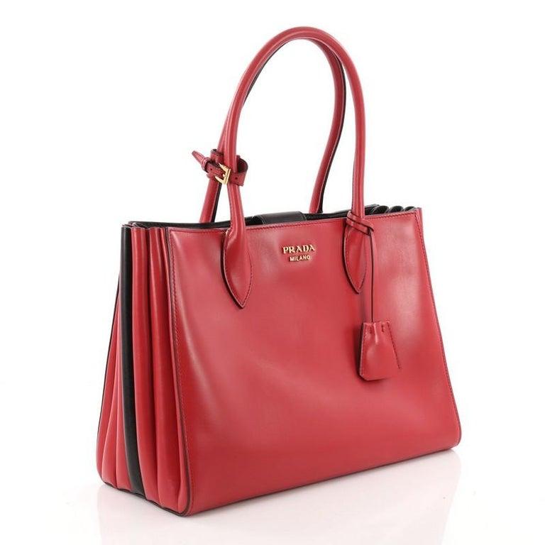 930ae6be6572 Red Prada Soft Bibliotheque Handbag City Calfskin Medium For Sale