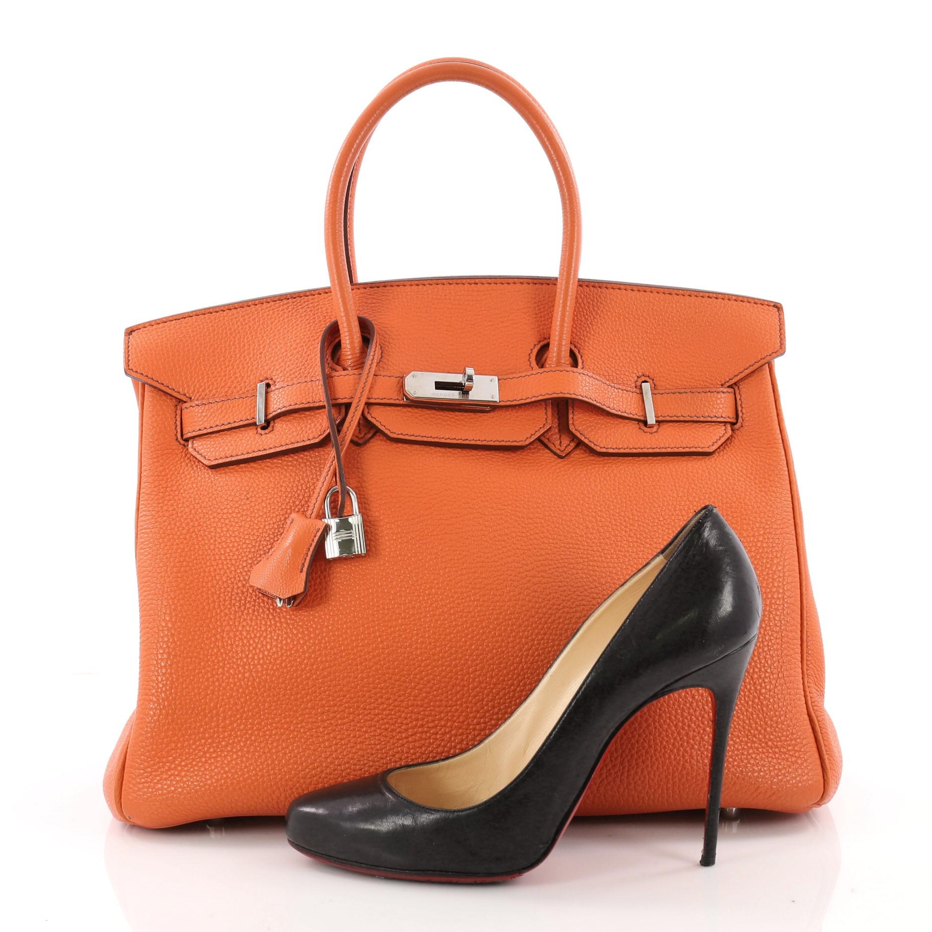 0a650e312c store this authentic hermes birkin handbag orange togo with palladium  hardware 35 is synonymous to traditional