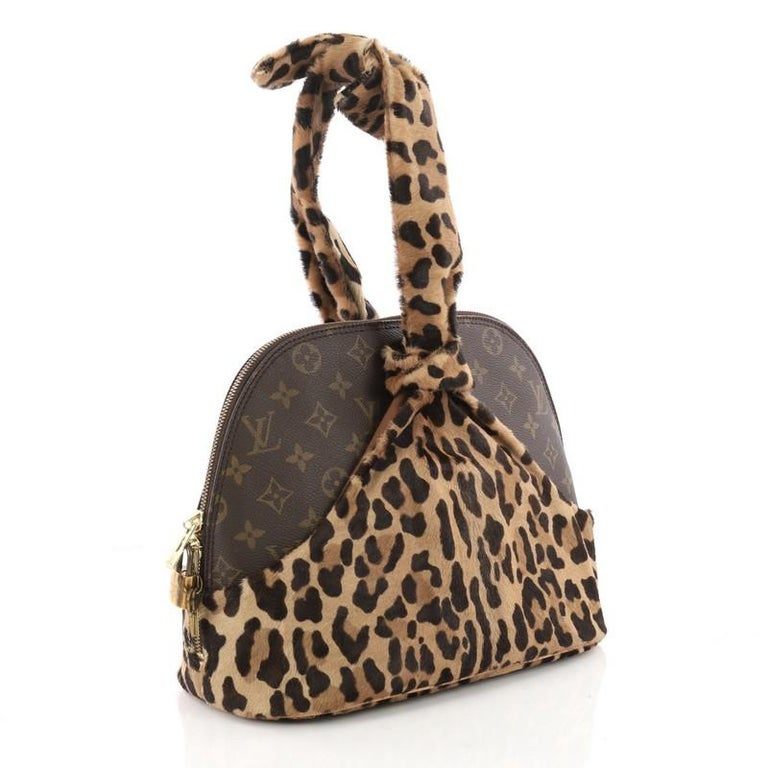 701dc3eb7a04 Brown Louis Vuitton Limited Edition Alaia Centenaire Alma Bag Pony Hair and  Monogram For Sale