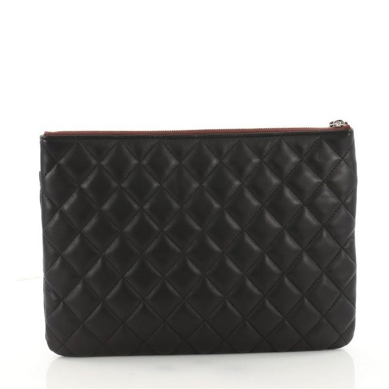 80578cb3b5c4e4 Chanel O Case Flap Clutch Quilted Lambskin Medium In Excellent Condition  For Sale In New York