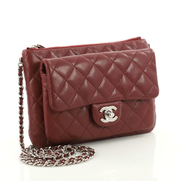 cc1f18600cf3c9 Brown Chanel Daily Zippy Crossbody Bag Quilted Caviar Medium For Sale