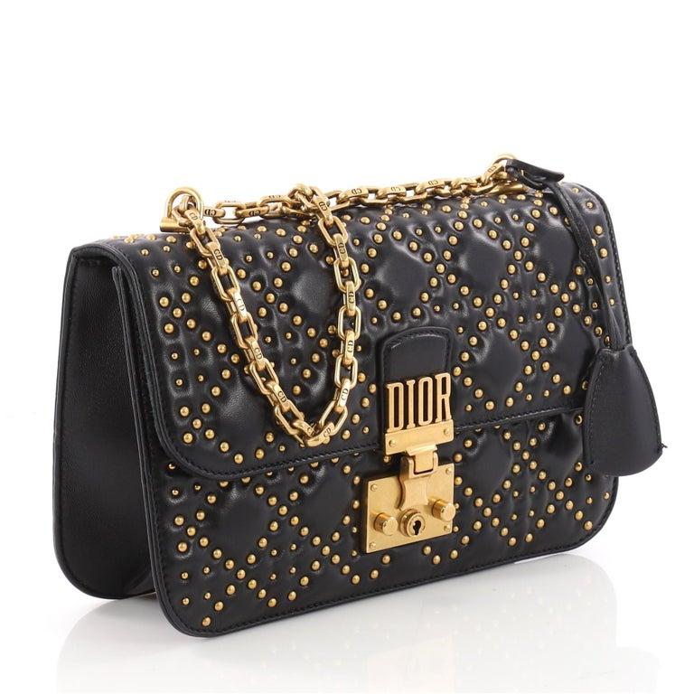 1192c0c80 Black Christian Dior Dioraddict Flap Bag Cannage Studded Leather Medium For  Sale