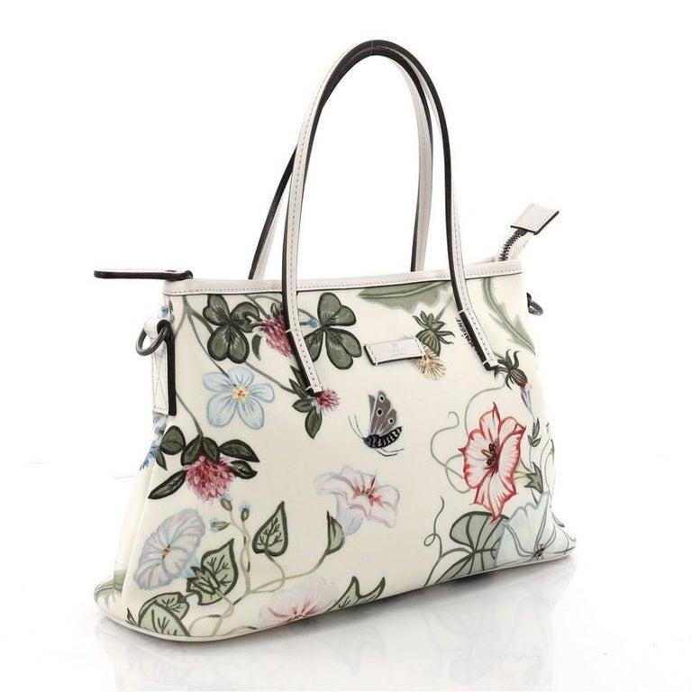 d290ba8cd48 Beige Gucci Convertible Zip Tote Flora Canvas Medium For Sale