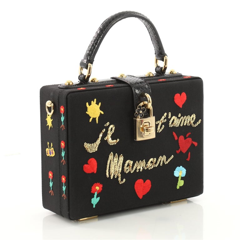 7a8eff807756 Dolce and Gabbana Treasure Box Bag Embroidered Grosgrain Small at ...