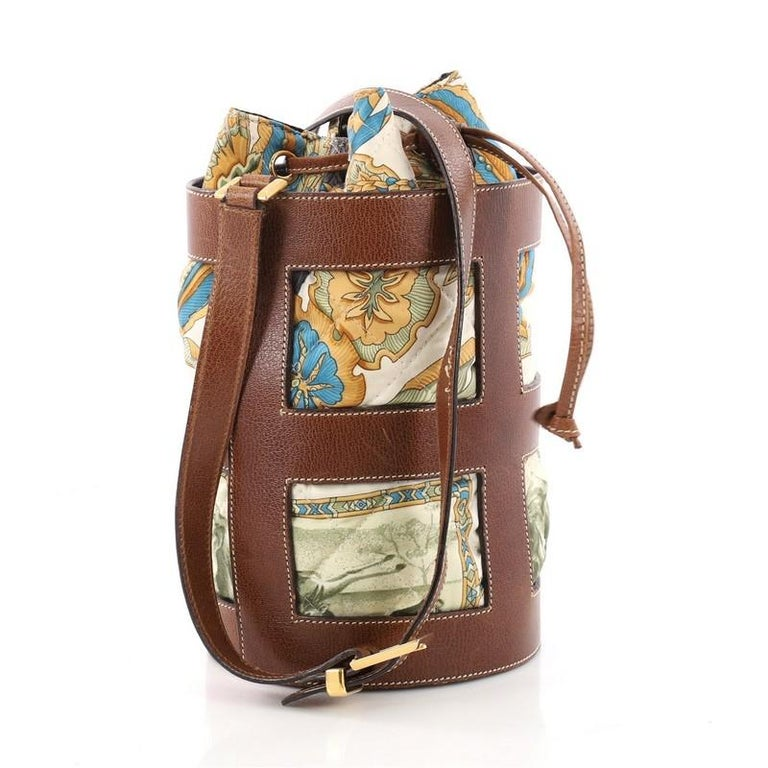 c32ef25cec Brown Salvatore Ferragamo Bucket Bag Leather and Quilted Printed Canvas  Medium For Sale