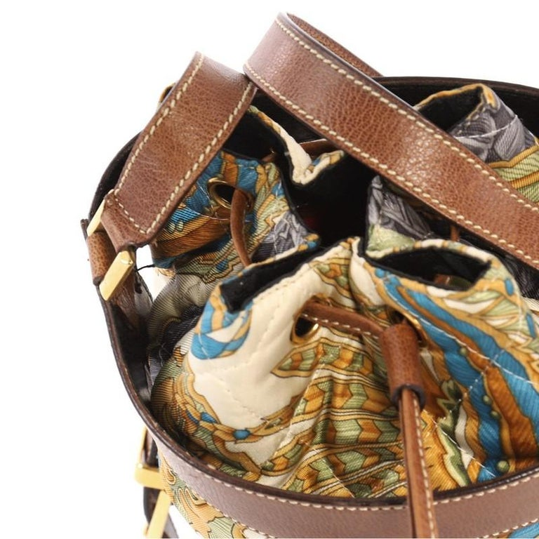e0a205ec38 Salvatore Ferragamo Bucket Bag Leather and Quilted Printed Canvas Medium  For Sale 2