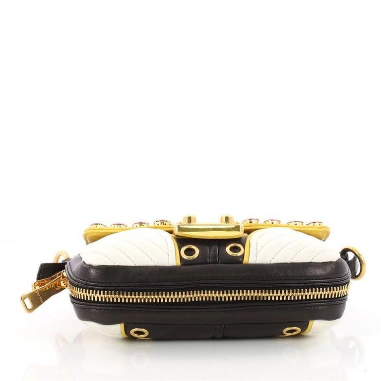 a54f9503949 Women s or Men s Miu Miu Biker Crystal Shoulder Bag Grommet Embellished  Leather Small For Sale