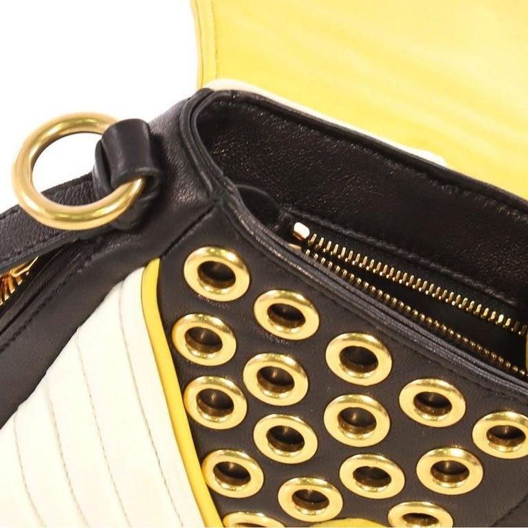72acda9d920 Miu Miu Biker Crystal Shoulder Bag Grommet Embellished Leather Small For  Sale 3